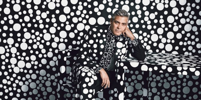 George Clooney Dons Custom Giorgio Armani by Yayoi Kusama 2013