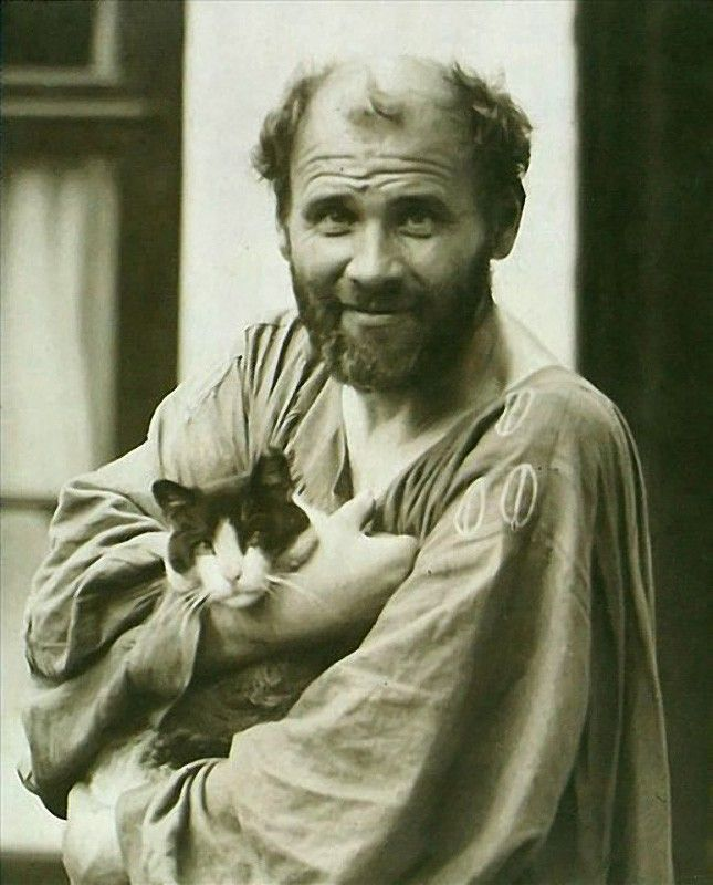 Gustav Klimt with his cat