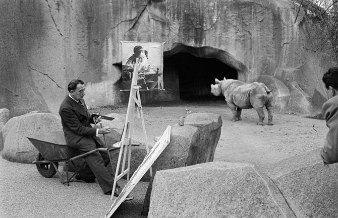 Salvador Dalí at work in Vincennes Zoo 1955