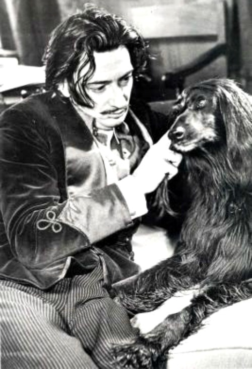 Salvador Dalí with his Afghan Hound during his stay in the United States 1940-48