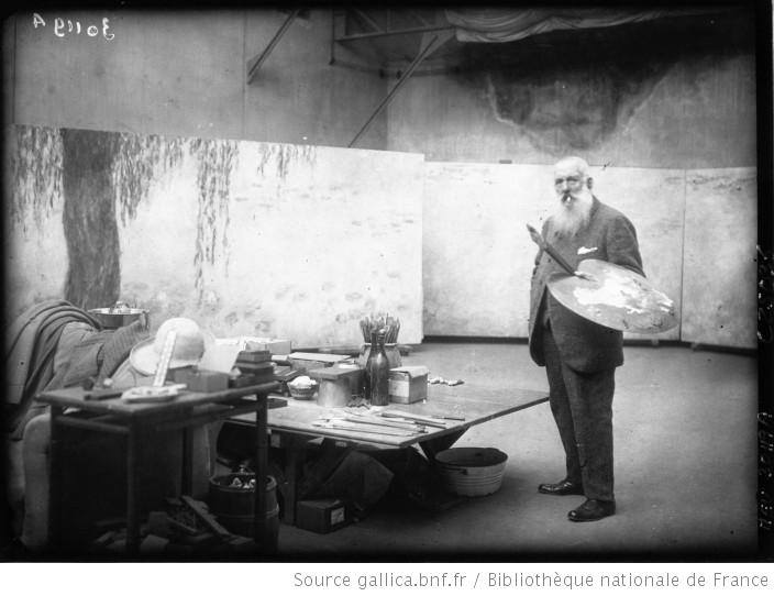 Claude Monet in his third studio at Giverny c. 1924-1925
