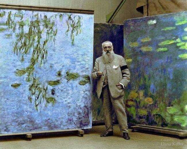 Claude Monet with his Water Lilies Canvas 1923