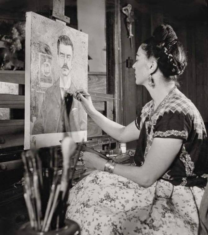 Frida Kahlo painting her Father's portrait 1951
