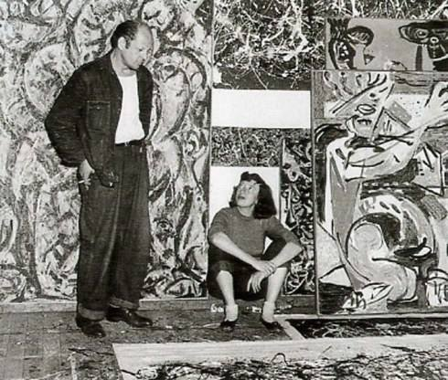 Jackson Pollock and Lee Krasner in Pollock's studio 1949