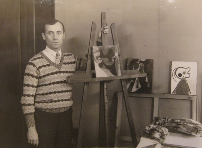Joan Miró at his studio, Rue François-Mouthon Paris - 1931 photo by Thérése Bonney