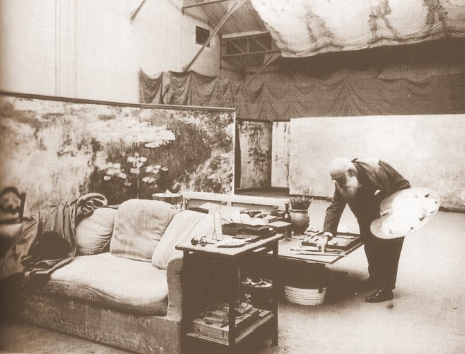 Monet in his studio painting his Water Lilies
