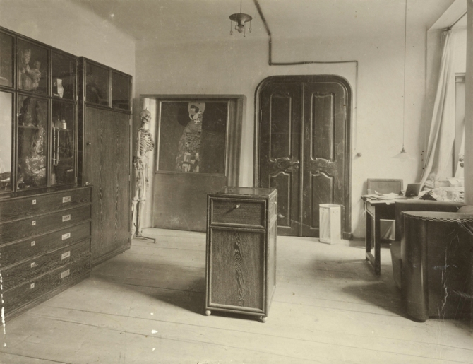 MORITZ NÄHR, Large Antechamber to Gustav Klimt's studio at Josefstädter Straße 21 with Wiener Werkstätte furnishings and Klimt's painting Hope II with exhibition frame, 1912