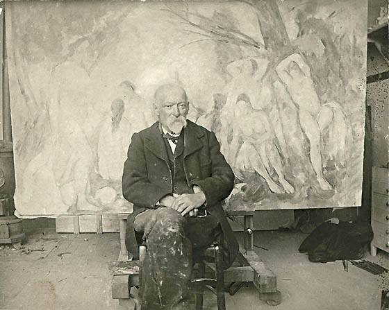 Paul Cézanne in his studio 1904_at Les Lauves in front of Large Bathers photo by Émile Bernard