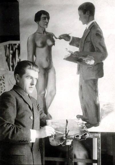 René Magritte with his painting - Paris, 1928