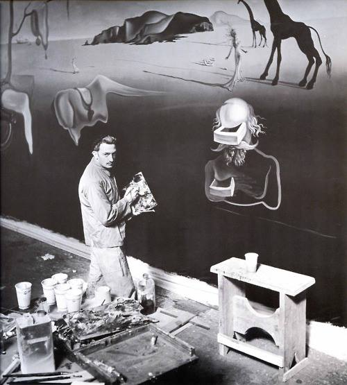 Salvador Dalí working at painting Dream of Venus