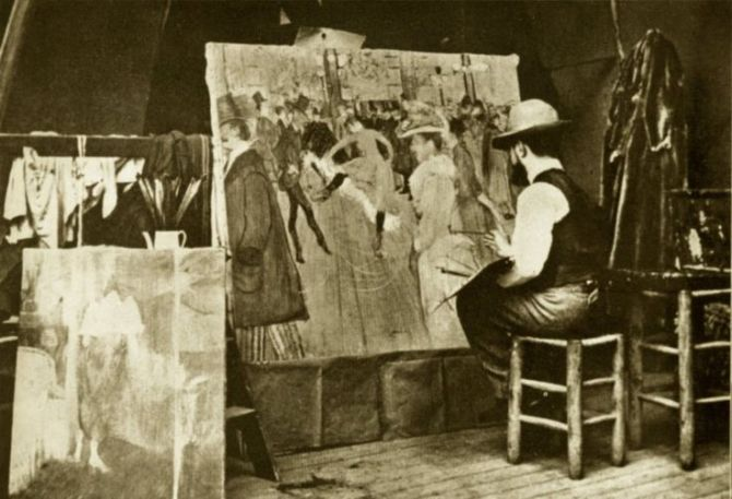 02. Henri de Toulouse-Lautrec painting At the Moulin Rouge 1890