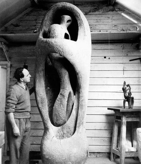 Henry Moore in his studio