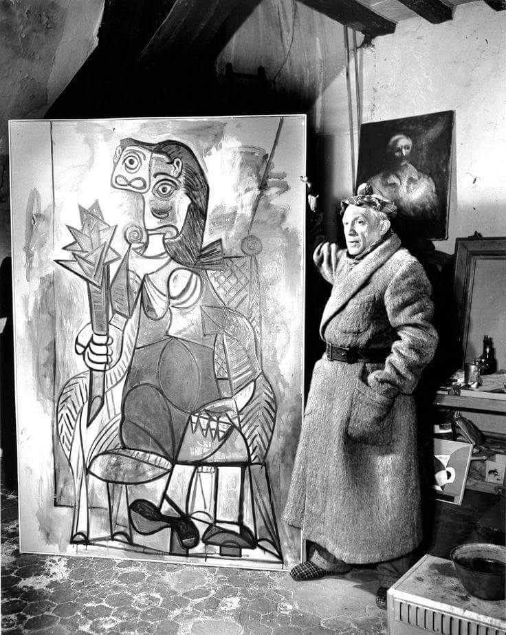 Pablo Picacco in his atelier with his picture 1942