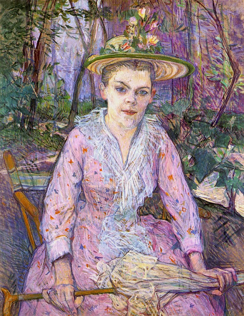 01 Henri Toulouse-Lautrec, Woman with an Umbrella _Berthe the Deaf in the Garden of Monsieur Forest, 1889, gouache, watercolor, and tempera on cardboard, The State Hermitage Museum, St. Petersburg, Russian