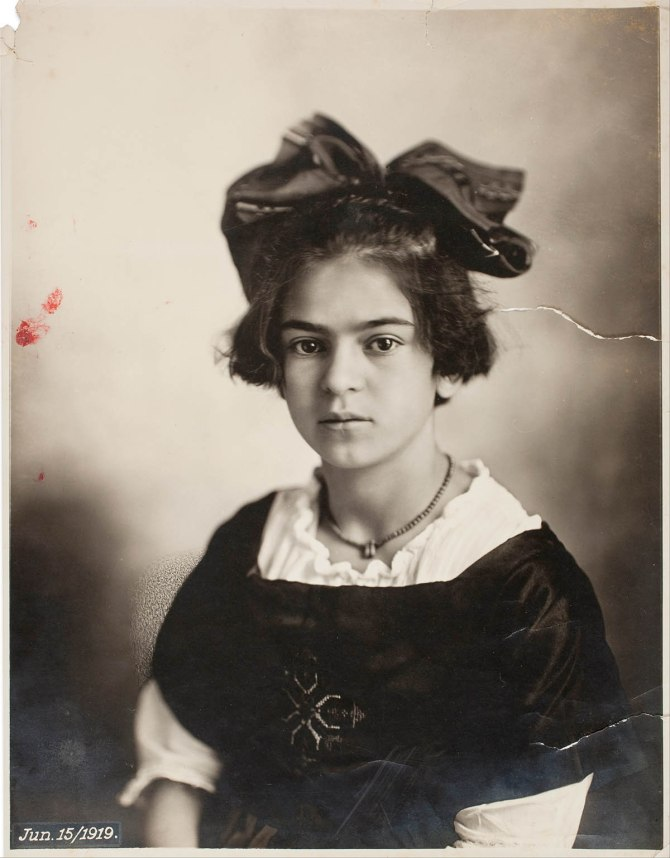 Frida Kahlo, June 15, 1919. Portrait at 9 years old, taken by her father Guillermo Kahlo