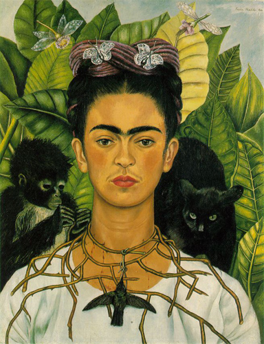 Frida Kahlo, Self-Portrait with Thorn Necklace and Hummingbird, Nickolas Muray Collection, Harry Ransom Center, University of Texas at Austin