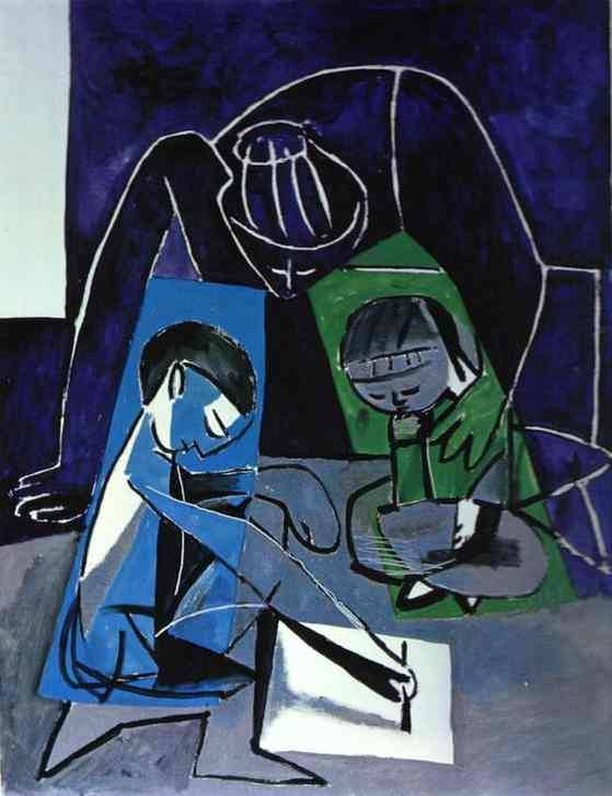 Pablo Picasso Clude, Francoise and Paloma, may 17 1954, Paris oil on canvas