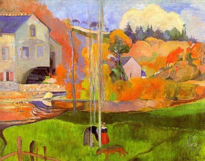 Paul Gauguin A breton landscape - David's mill 1894