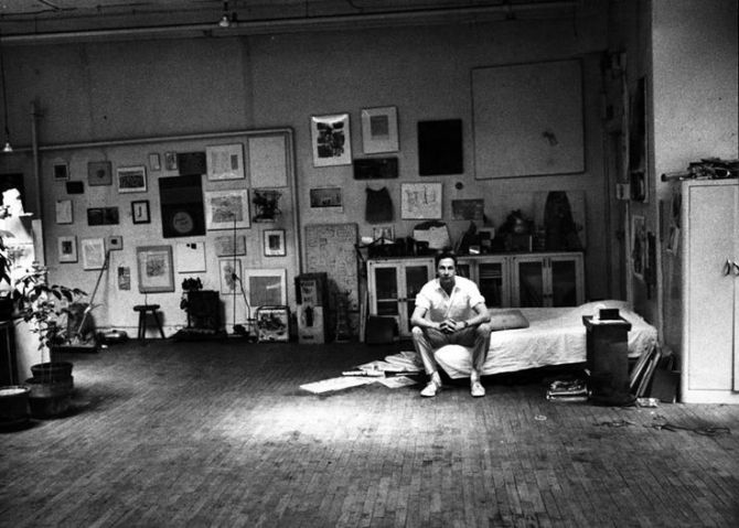 01 Robert Rauschenberg in his Broadway studio New York City 1965