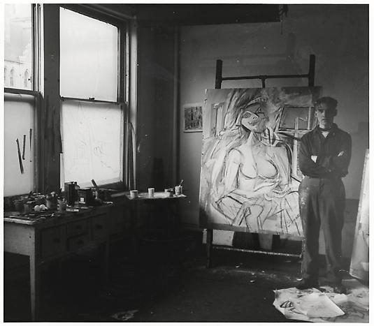 Willem de Kooning in his Fourth Avenue studio, April 1946 Harry Bowden, photographer. Harry Bowden papers, Archives of American Art, Smithsonian Institution.