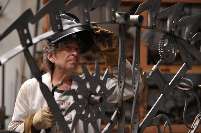 Bob Dylan at his iron works studio
