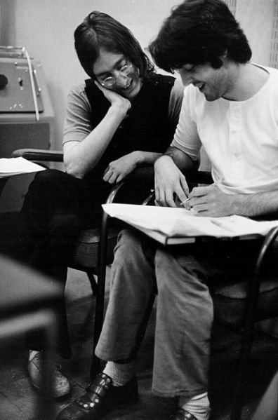 John and Paul working on some lyrics, 1968
