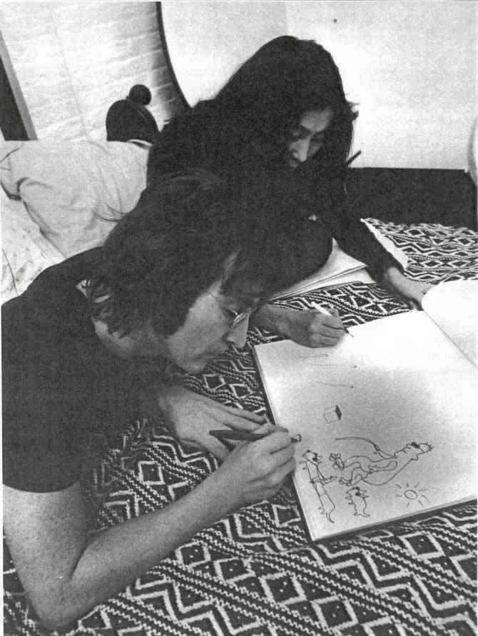John and Yoko drawing at their Greenwich Village apartment, January 1972