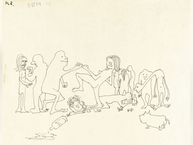 John Lennons ink drawing Puffing and globbering they drugged theyselves rampling or dancing with