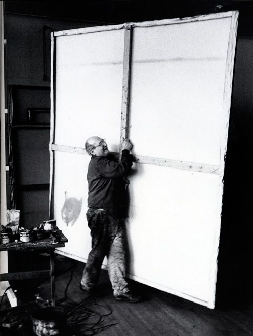 Mark Rothko with his canvas at his studio 1964 photo by Alexander Liberman