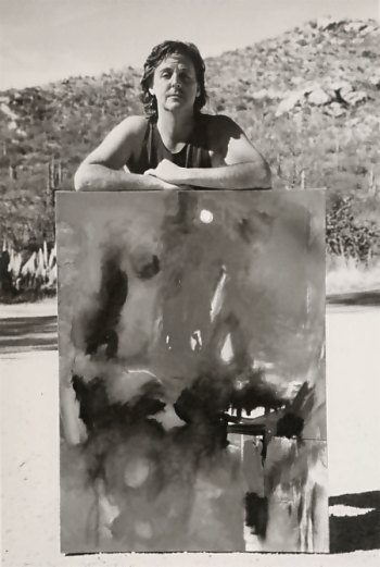Paul McCartney in Arizona 1991 with his painting Red Abstract White Moon