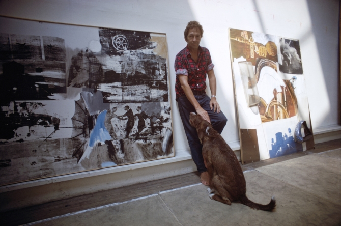 Rauschenberg in studio with his dog and Scanning, 1969