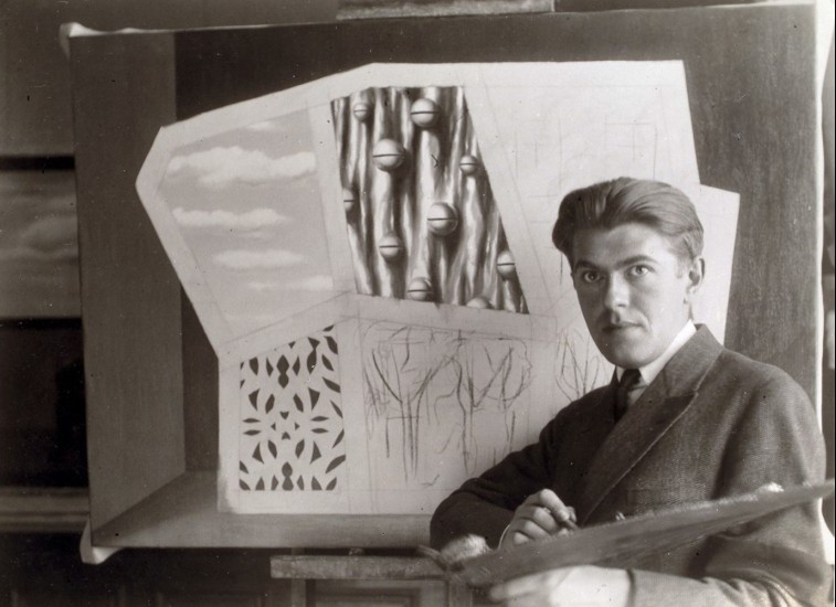 René Magritte Self Portrait in front of Le Masque vide at Le Perreux-sur-Marne 1928