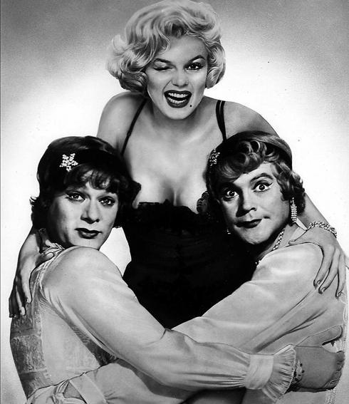 Curtis, left, shows off his drag queen chops in 1959's Some Like It Hot, in which he co-starred alongside Jack Lemmon and Marilyn Monroe