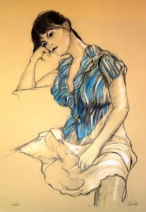 Peter Falk Girl in Blue Blouse