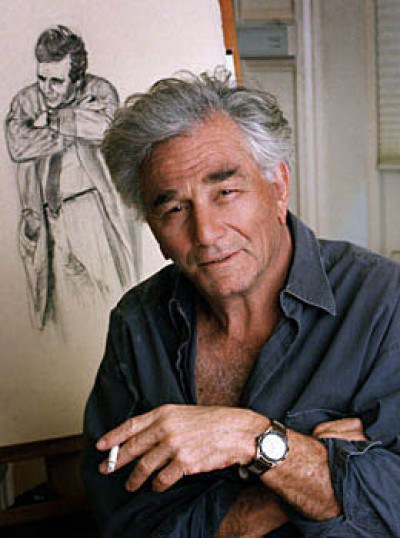 Peter Falk with is drawing Columbo