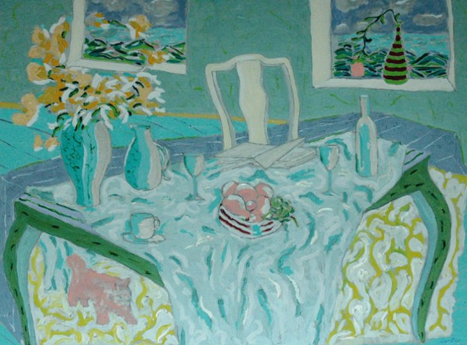 Tony Curtis Beach House Acrylic on Canvas 130 x 169 cm