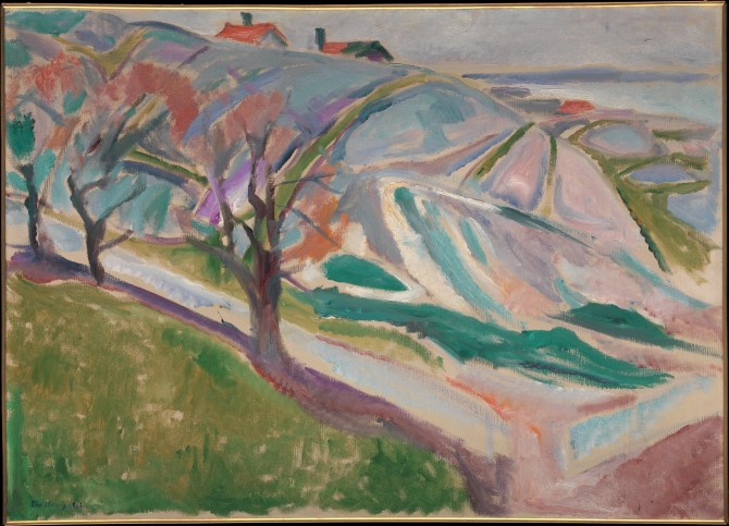 Edvard Munch (Norwegian, Løten 1863–1944 Ekely) Landscape, Kragero, 1912 Oil on canvas; 28 1/2 x 39 1/2 in. (72.4 x 100.3 cm) The Metropolitan Museum of Art, New York, Bequest of Scofield Thayer, 1982 (1984.433.20) http://www.metmuseum.org/Collections/search-the-collections/483334