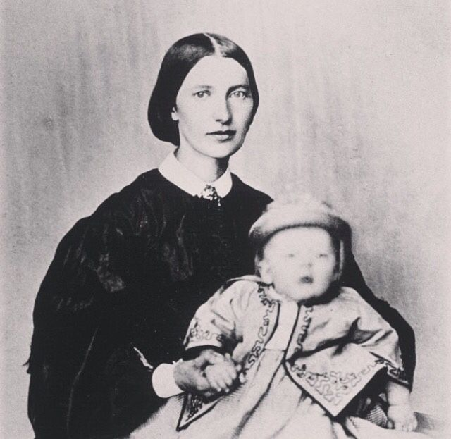 Edvard Munch with his mother Laura Cathrine Munch in 1864