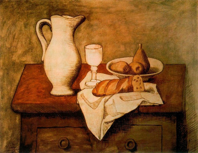Still life with jug and bread, Pablo Picasso 1921
