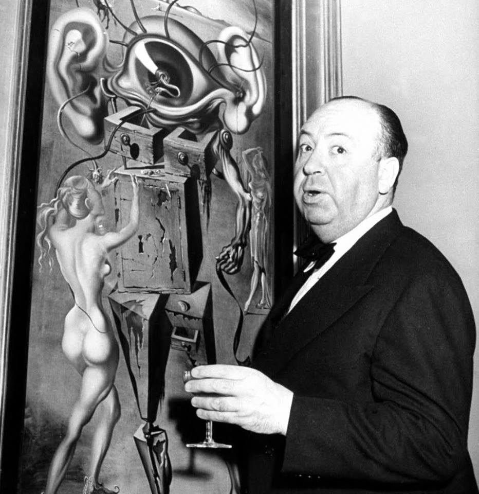 Alfred Hitchcock and art by Salvador Dali for Spellbound 1945