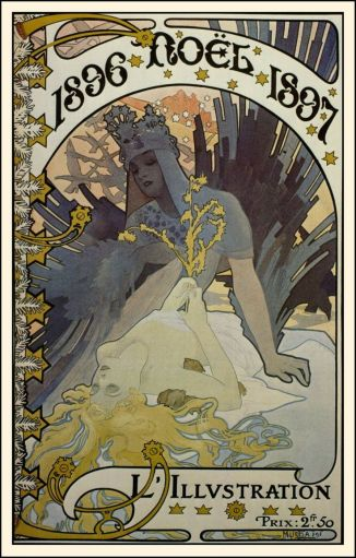 Alphonse Mucha's Winter and Christmas Images - Alberti's Window 1896-1897