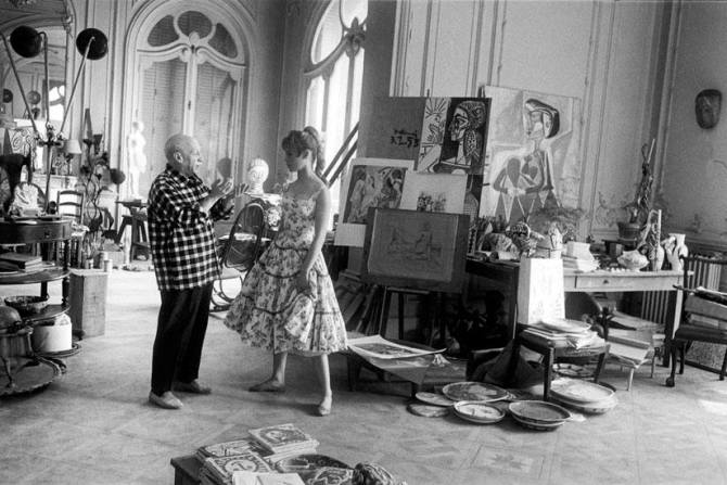 Brigitte Bardot visits Pablo Picasso at his Atelier in Cannes, 1956