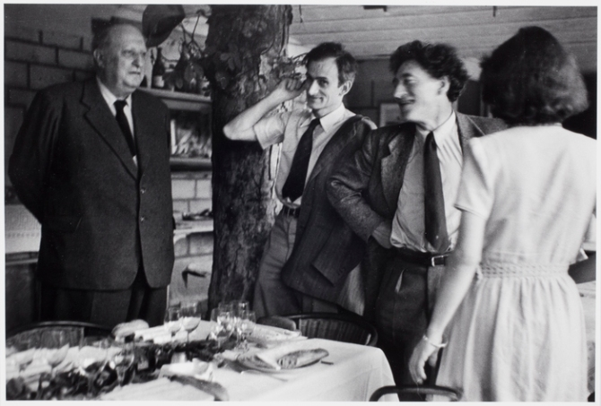 Dinner Party, Andre Derain, Balthus and Alberto Giacometti, Paris 1954 photo by Alexander Liberman