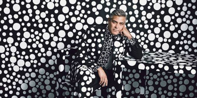 George Clooney in a custom suit and scene by Yayoi Kusama 2013 photo by Emma Summerton