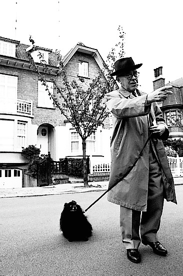 Magritte walking dog, 1967 photo by Michael Cooper