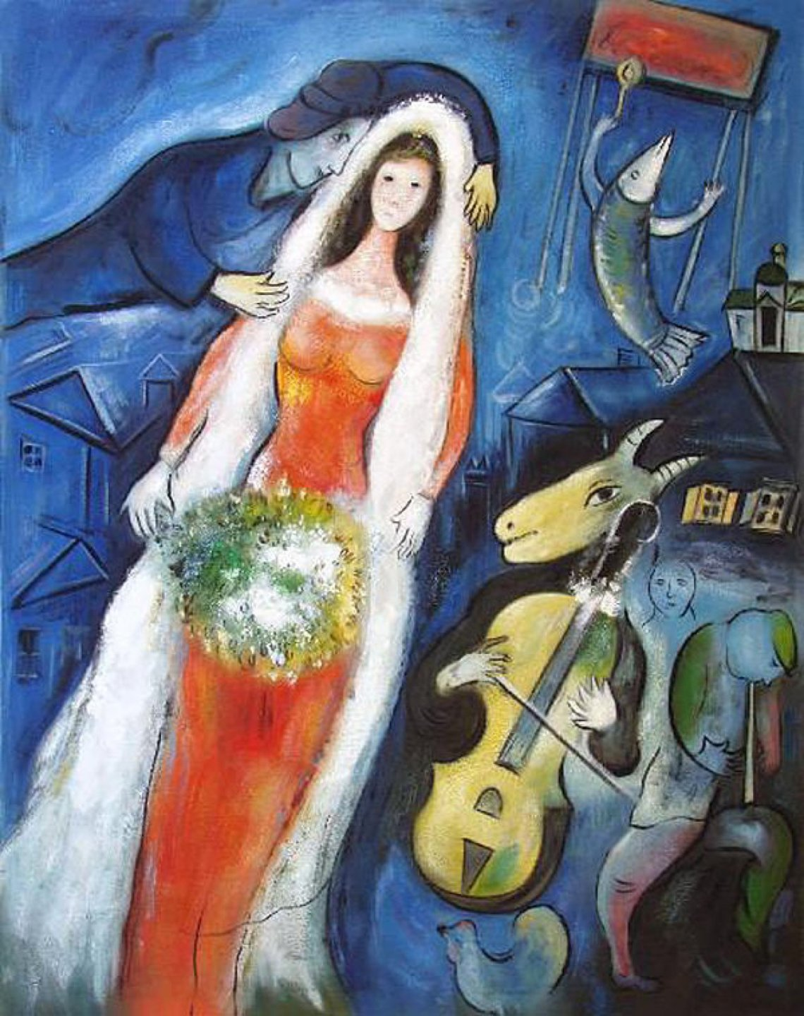 Marc Chagall La Mariée -English language_The Bride 1950 gouache, pastel 68x53 cm Private Collection Japan