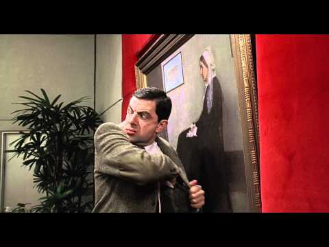 mr-bean-destroys-painting in film Bean_Rowan Atkinson 1997