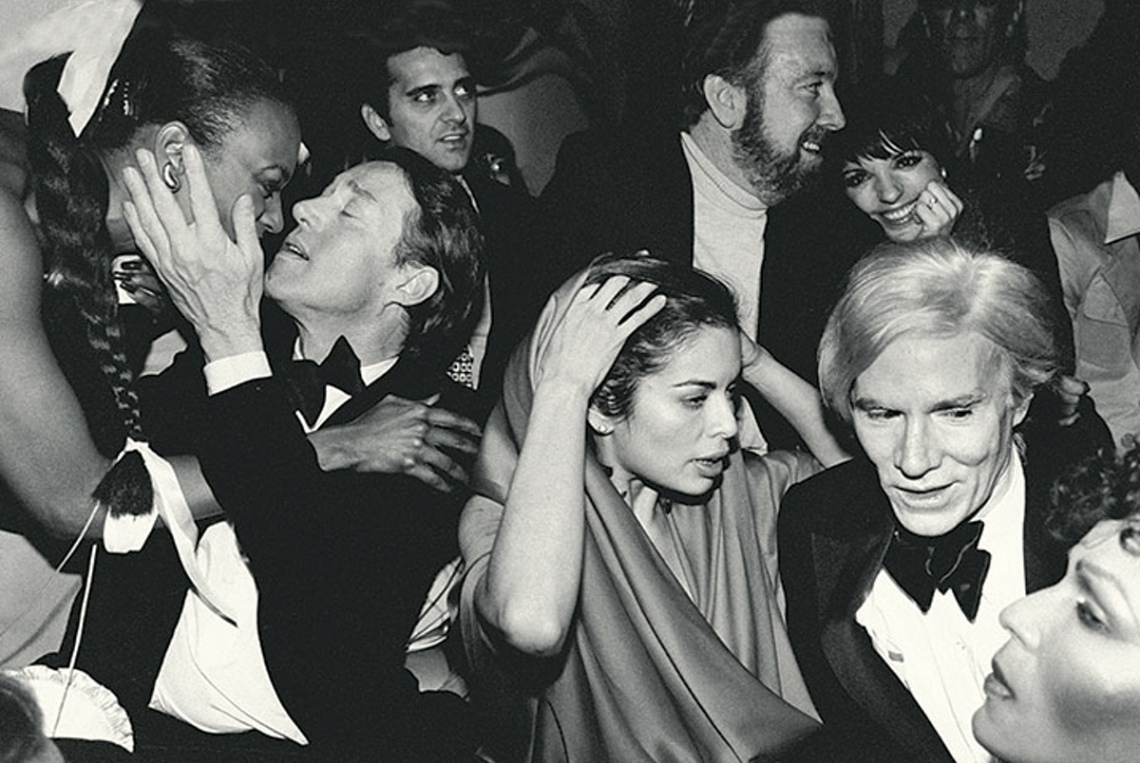 New Year's Eve party at Studio 54, with Halston, Bianca Jagger, Jack Haley Jr., Liza Minnelli and Andy Warhol, 1979 by Robin Platzer