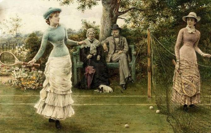 A Game of Tennis - George Goodwin Kilburne - (English, 1839 - 1924)