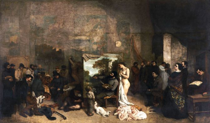 Courbet_LAtelier_du_peintre The Artist's Studio Gustave Courbet (1855)